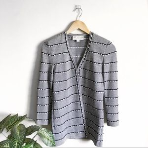 St. John Collection Jacquard Striped Knit Cardigan